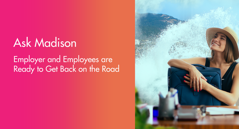 Employee imagining rewards travel